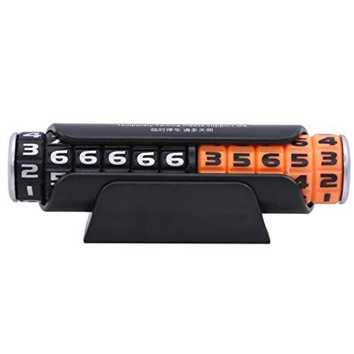 LWANFEI - Tarjeta de Aparcamiento con contraseña giratoria para el salpicadero, número de Coche Temporal, Tarjeta de Aparcamiento Oculta, plástico abs, Black Orange, Reference Description