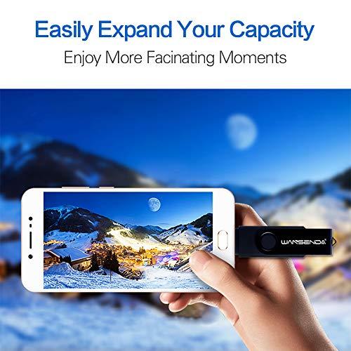 Memoria USB Pendrive 128GB 64GB 32GB 16GB Wansenda S100 OTG USB 2.0 para Dispositivos Android, PC/Tableta/Mac (64GB,Negro)