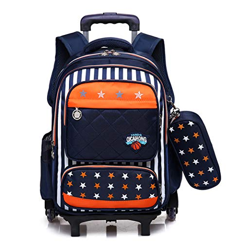 Mochilas con ruedas para niños, mochilas escolares con ruedas Mochila de viaje Mochila para niños Mochila azul para niños Trolley Bag Niñas Niños 2 ruedas-orange