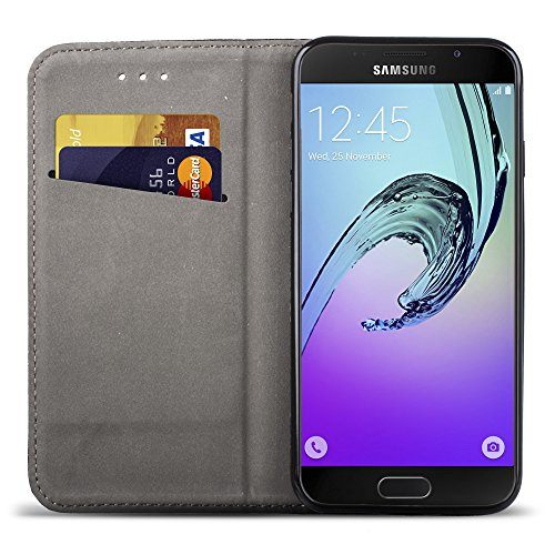 Moozy Funda para Samsung A5 2016, Negra - Flip Cover Smart Magnética con Stand Plegable y Soporte de Silicona