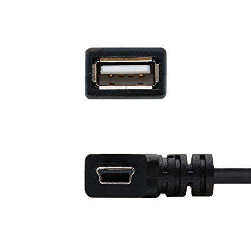 NANOCABLE 10.01.3900 - Cable Mini USB 2.0 OTG acodado (On-The-GO), Tipo Mini B/M-A/H, Macho-Hembra, Negro, 15cm