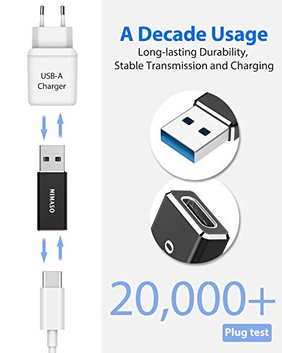 NIMASO Adaptador USB C a USB 3.0, USB-C Hembra a USB Tipo A Macho Adaptador de Carga Rápida Double Cara 3.0 Compatible para Samsung S8 Google Pixel 2 MacBook Huawei y Otros Dispositivos con USB C