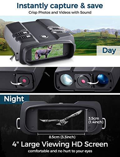"""NOCOEX Binoculares Visión Nocturna (3.6-10.8) X31MM -Pantalla HD de 4"""" Alcance Digital de Visión Nocturna 850NM 7LV IR Zoom Infrarrojo Foto Vídeo - para la Vida Silvestre a 700m/2297ft 64G TG Tarjeta"""