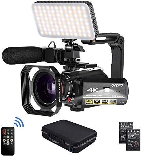 ORDRO HDR-AC3 Videocámara 4K UHD 1080P 60FPS Vlog Camera IR Night Vision Video Recorder con Mic, luz LED, Lente Gran Angular, Soporte portátil, Parasol, Tarjeta SD 32G
