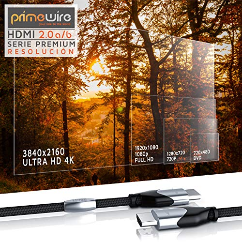 Primewire 1,0m Cable de HDMI - 4K 60Hz 4096 x 2160p HDR UHD 4x4x4 18Gbps - Alta Velocidad con Ethernet - 4K Ultra HD 2160p 3D ARC y CEC - Cable de blindaje Triple - Trenzado de Nylon - Black Line