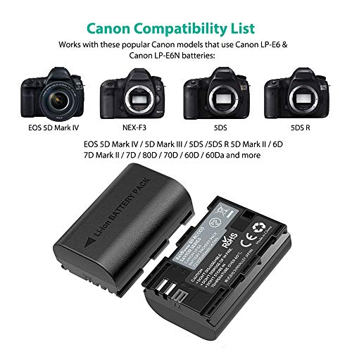 RAVPower Batería LP-E6 & LP-E6N, 2-Pack 2000mAh con Batería Recargable para Canon Compatible com EOS 80D / 70D / 7D / 6D / EOS R, EOS 5D Mark IV/Mark III / 5D Mark II, etc.