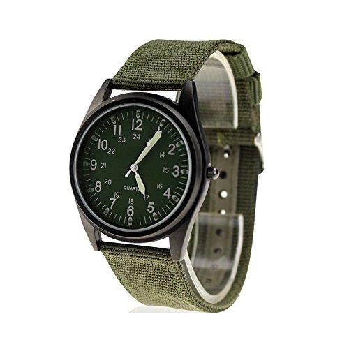 Reloj de pulsera City Fashion de carcasa negra, esfera verde militar y correa de tela de nylon