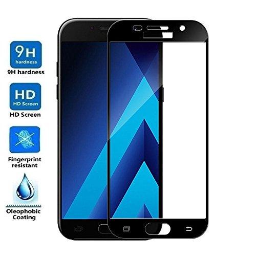 REY Protector de Pantalla Curvo para Samsung Galaxy A5 2017, Negro, Cristal Vidrio Templado Premium, 3D / 4D / 5D