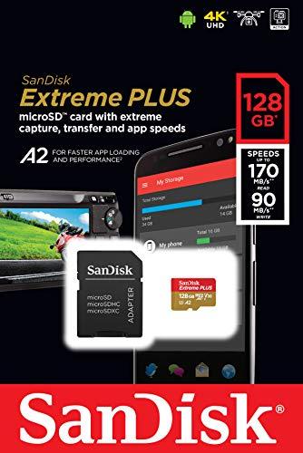 SanDisk SDSQXBZ-128G-GN6MA Extreme Plus - Tarjeta de Memoria microSDXC de 128GB con Adaptador SD, A2, hasta 170MB/s, Class 10, U3 y V30, Oro/Rojo