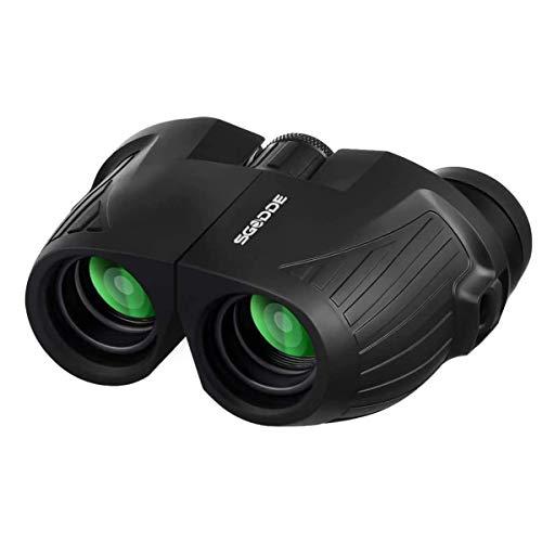 SGODDE 12x25 Prismáticos Binoculares Plegable, Mini Prismáticos Portátiles de HD de Alta, Visión Nocturna de Poca Luz, Visión Clara para Observación de Aves, Anti-agua, Ideales para Senderismo