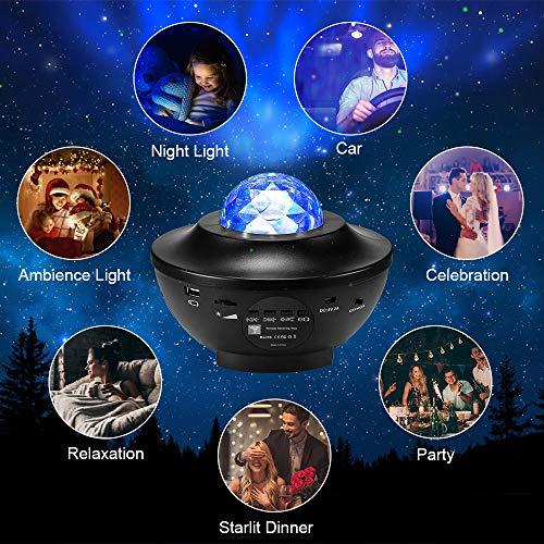 solawill Proyector de Luz Estelar, Lámpara Proyector Estrellas con Control Remoto/Bluetooth/Temporizador Luz Nocturna Giratorio Proyector Infantil con Estrellas Océano Multicolor Reproductor de Música