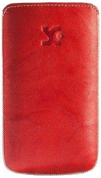 Suncase - Funda de cuero con pestaña para LG P700 Optimus L7, color rojo