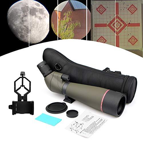 Svbony SV13 Telescopio Terrestre, 20-60x80 HD Telescopio Terrestre Potente Profesional Impermeable con Adaptador Móvil, Óptica FMC, Bolsa de Transporte para Observación de Aves Tiro al Blanco