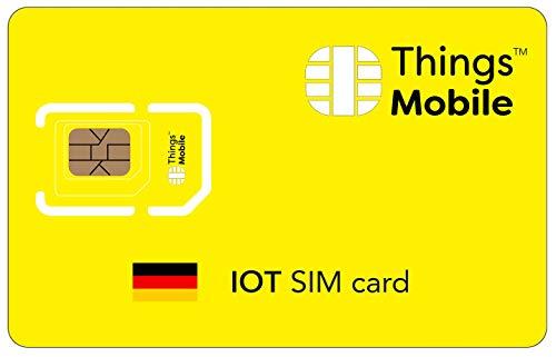 Tarjeta SIM IOT ALEMANIA - Things Mobile - con cobertura global y red multioperador GSM/2G/3G/4G LTE, sin costes fijos, sin vencimiento y con tarifas competitivas, con 10 € de crédito incluido