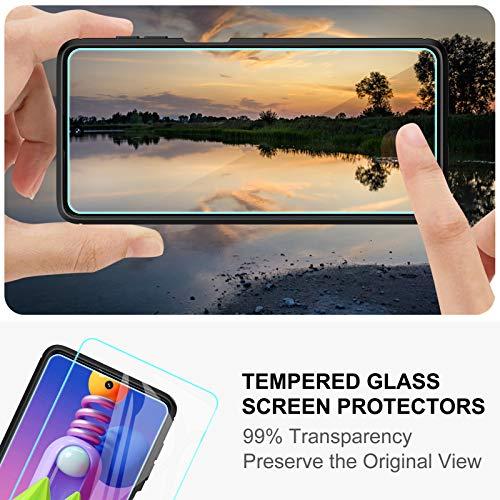 TesRank Funda Samsung Galaxy M51 + [2 Pack] Cristal Templado Protector de Pantalla, Carcasa Silicona TPU Samsung Galaxy M51 Protector Funda Móvil Ultrafina-Negro