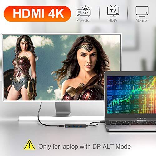 TSUPY HUB USB C a HDMI 4K, OTG Adaptador USB C HDMI con 3 Puertos USB 3.0 5Gbps y Type C Power Delivery PD Carga Hub USB Tipo C Thunderbolt 3 para MacBook, Samsung, Huawei, Más Tipo C Dispositivos