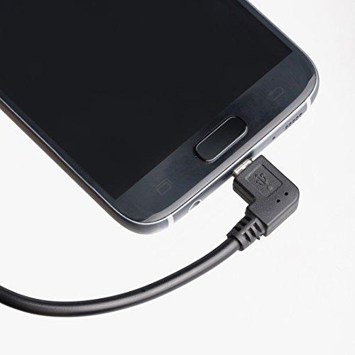 Ultratec Cable de Datos para Dispositivos móviles de Micro USB B (Conector acodado de 90°) a USB A OTG, 13 cm Aprox.