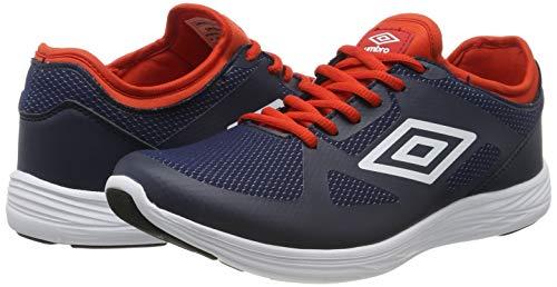 Umbro Velo Run, Zapatillas de Running para Hombre, Azul (Dark Navy/White/Shocking Orange FSU), 40 2/3 EU