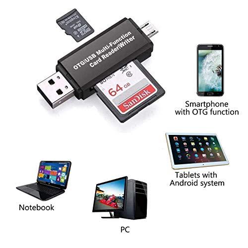 viewtek rd321–Lector Grabador de Tarjetas SD & Micro SD para Puertos USB/USB-C (Type-C)/USB OTG–Lector Externo 4en 1USB2.0–para teléfono, Ordenador PC y Tablet etc.