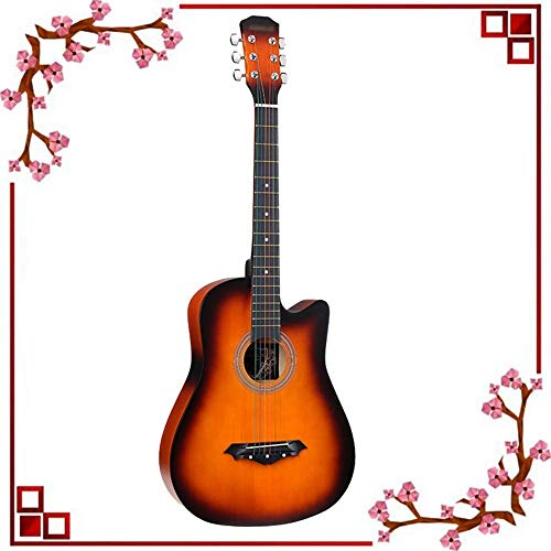 Zjcpow 38 '' de la Guitarra acústica de Cuerdas de Alambre de Alta Voz Fuerte Poder de penetración de Superficie Mate Cutaway con Mochila Amateurs, 10 Colores (Color: Naranja, Tamaño: 95 cm) xuwuhz