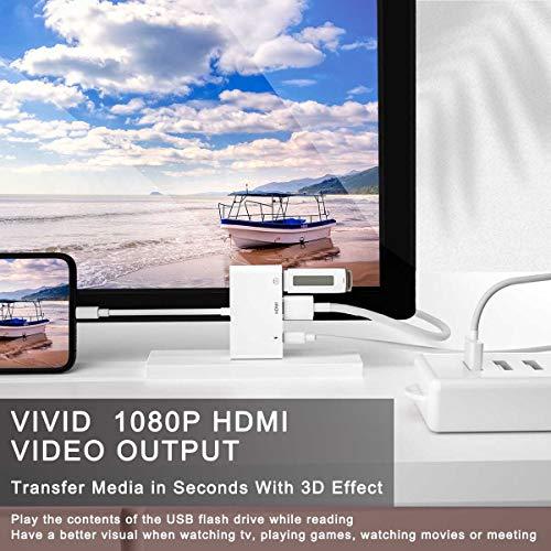 Adaptador HDMI OTG 3 en 1, Con Adaptador Digital AV 1080P HDMI, Cable USB Hembra OTG y Puerto de Carga, Compatible con USB Flash Drive, Teclado MIDI, Ratón, para Phone/11 Xs XR X 8 7 6/Pad.