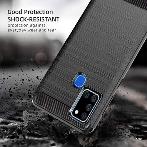 AROYI Funda Samsung Galaxy A21S, [2 Pack] Cristal Templado, Carcasa Silicona Fibra de Carbono TPU Alta Resistente y Flexibilidad Fundas Cover Caso para Samsung Galaxy A21S-Negro