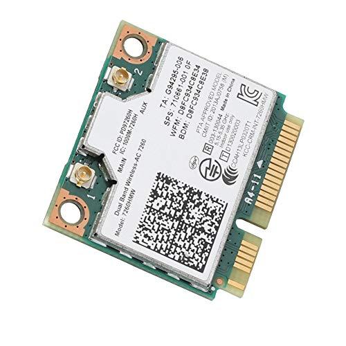 Bewinner Universal 2.4G + 5G Tarjeta Inalámbrica de Banda Dual para Intel 7260AC 867 Mbps Tarjeta de Red Bluetooth 4.0 Soporte de Tarjeta WiFi 802.11ac / a/b/g/n Soporte para MSI 16F4 16GC 1763