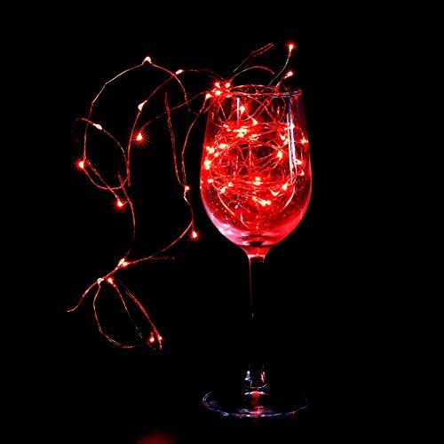 Cadena de Luces LED, 5m 50LED 5V Puerto USB Cadena de Luces Impermeables, Alambre de Cobre Luces de Hadas para Navidad, Halloween, Fiesta Familiar Jardín(Rojo)