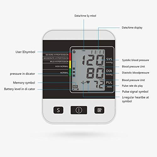 CFMOUR Tensiómetro de Brazo Digital,Eléctrico de Presión Arterial Medición Automática de la Presión Arterial y pulso de frecuencia cardíaca detección,2 Memorias de Usuario(2 * 99)