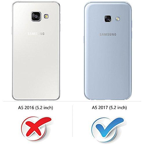 COODIO Funda Samsung Galaxy A5 2017 con Tapa, Funda Movil Samsung A5 2017, Funda Libro Galaxy A5 2017 Carcasa Magnético Funda para Samsung Galaxy A5 2017, Azul Oscuro/Rojo