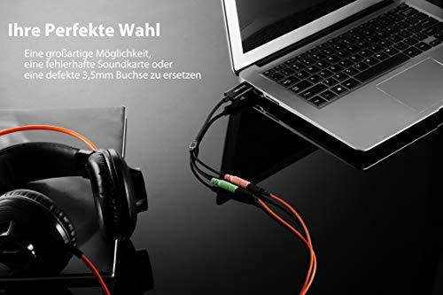 DuKabel Adaptador de tarjeta de sonido USB externo para computadora y PS4, cable convertidor de audio de 3,5 mm a 2 jack de 3,5 mm para auriculares, parlante y micrófono TRS de 3 polos - Negro