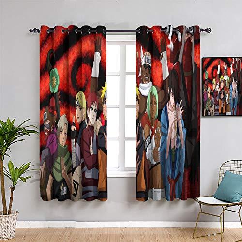 Elliot Dorothy - Cortinas decorativas con diseño de anime de Naruto para niños, 55 x 45 cm