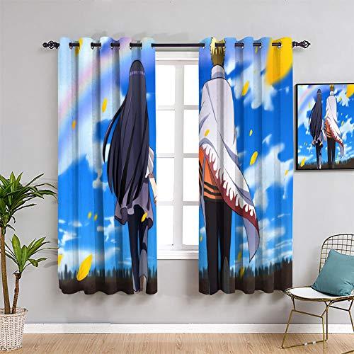 Elliot Dorothy - Cortinas térmicas para oscurecimiento (42 x 54 cm), diseño de Naruto Uzumaki y Hyuuga Hinata