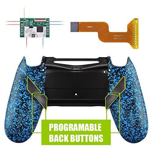 eXtremeRate Dawn Programable Remap Kit Botón de Reasignación para Playstaion 4 con Board de Actuelización&Carcasa Trasera Diseñada&4 Botones Traseros para Mando PS4 JDM 040/050/055(Salpicadura Azule)