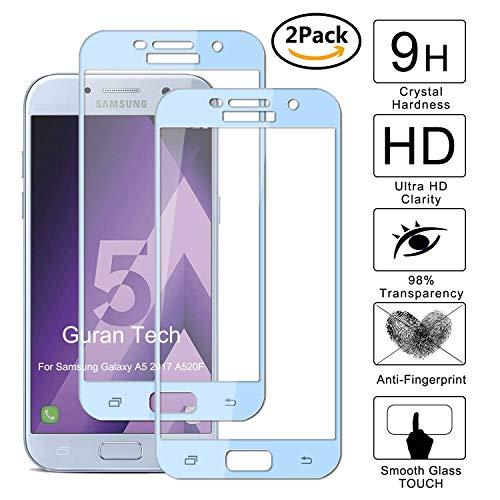 Guran [2 Paquete] Protector de Pantalla para Samsung Galaxy A5 2017 A520F [Full Coverage] Vidrio Cristal Templado 100% Cobertura Completa Film - Azul Claro