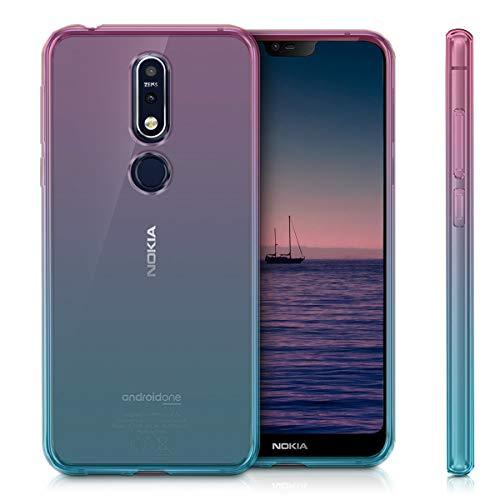 kwmobile Funda Compatible con Nokia 7.1 (2018) - Carcasa de TPU Bicolor - Rosa Fucsia/Azul/Transparente