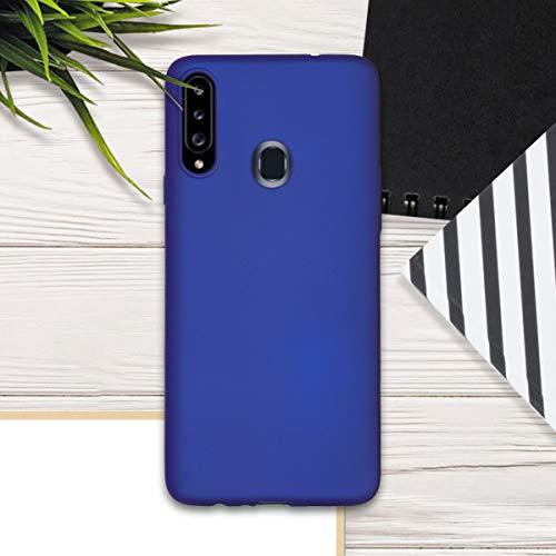 kwmobile Funda Compatible con Samsung Galaxy A20s - Carcasa móvil de Silicona - Protector Trasero en Azul Metalizado