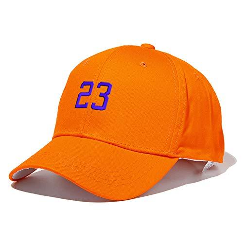 LENGXDR Gorras De Hombre Hombres Gorra De Béisbol con El Número 23 Unisex Deporte Sombreros De Algodón Bordado Personalidad Ventiladores Gorra Accesorios De Moda Orange
