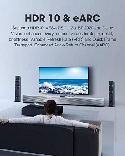 MoShou-Cable HDMI 2.1 (2m) / UHD HDR 4K 8K 120Hz 2160p 4320p 3D / HDMI 2.0 / eARC Dolby Vision Atmos/Trenzado de Nylon/Ultra Alta Velocidad 48Gbps Ethernet