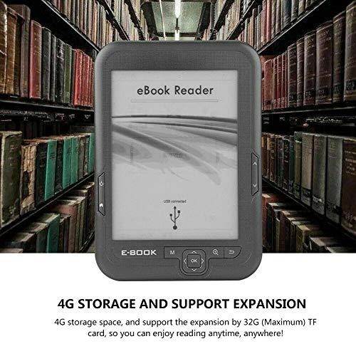 Nrpfell Lector de Ebook de 6 Pulgadas y 4 GB E-Ink Capacitiva e Book Luz Eink Pantalla E-Book E-Ink E-Reader MP3 con Estuche, WMA PDF HTML