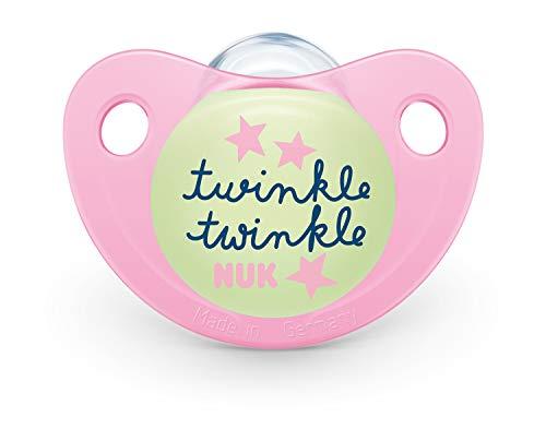Nuk Trendline Night & Day Chupete con efecto luminoso, 18 – 36 meses, silicona, sin BPA, rosa, 2 unidades