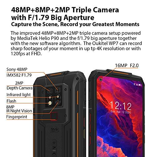 "OUKITEL WP7 Móvil Resistente, Cámara Triple 48MP + Cámara de Visión Nocturna IR de 8MP, Helio P90 8GB RAM 128GB ROM, Android 10, Batería 8000mAh, NFC, Teléfono Robusto Smartphone FHD + 6.53 "" Naranja"
