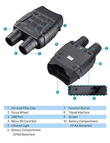 Prismáticos digitales de visión nocturna de 7 x 31 mm, pantalla TFT LCD con tarjeta TF de 32 GB para cámara de fotos, grabador de vídeos en oscuridad completa