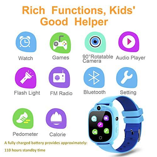 Prograce Reloj inteligente para cámara digital para niños con juegos, reproductor de música, conteo de pasos con podómetro, radios FM, linternas y pantalla táctil de 1.5 pulgadas para el cumpleaños de