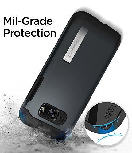 Spigen, Funda Compatible con Samsung Galaxy A5 2017 [Slim Armor] con Kick Stand y Protección híbrida contra caídas - [Metal Slate]