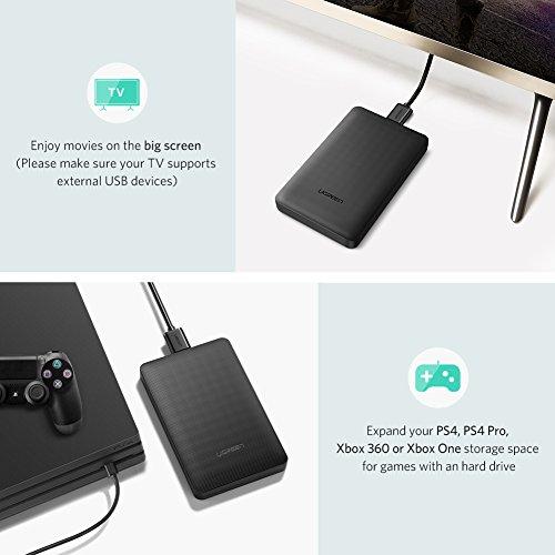 "UGREEN Carcasa Disco Duro 2.5"", Caja Disco Duro Externo USB 3.0 con UASP, Estuche Disco Duro de HDD SSD SATA I/II/III de 7mm 9.5mm de Altura, 6 TB MAX, con Cable USB 3.0 - Negro"