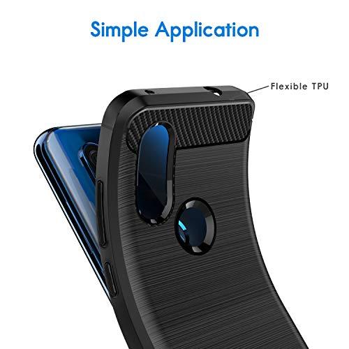 VGUARD [2 Unidades] Funda para Motorola Moto One Vision, Diseño de Fibra de Carbon Ultra Fina TPU Silicona Carcasa Fundas Protectora con Shock- Absorción para Motorola One Vision (Negro+Azul)