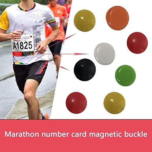 ZZYUBB 4pcs Operando Portátil De Tela Hebilla del Bolso Al Aire Libre Magnética Babero Triatlón Número Correa De Accesorios Deportes Clip Fijo Colorido (Color : Orange)