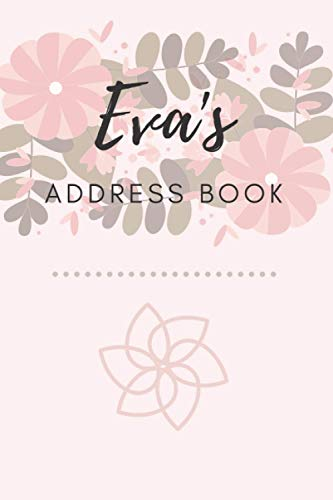 Address Book | Eva: 6 x 9 Inches | 208 Entries | 104 Pages | Contact Book | Alphabetical with Letter on Each Page | Name | Address | Phone Numbers | Email | Notes