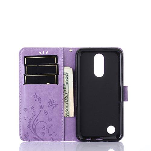 Alfort Funda LG K4 2017, Cáscara LG K4 2017 con Soportes y Flip Caja Portátil con 3 Ranura Tarjetas y Billetera Protección PU Funda para LG K4 2017 Diseño Retro
